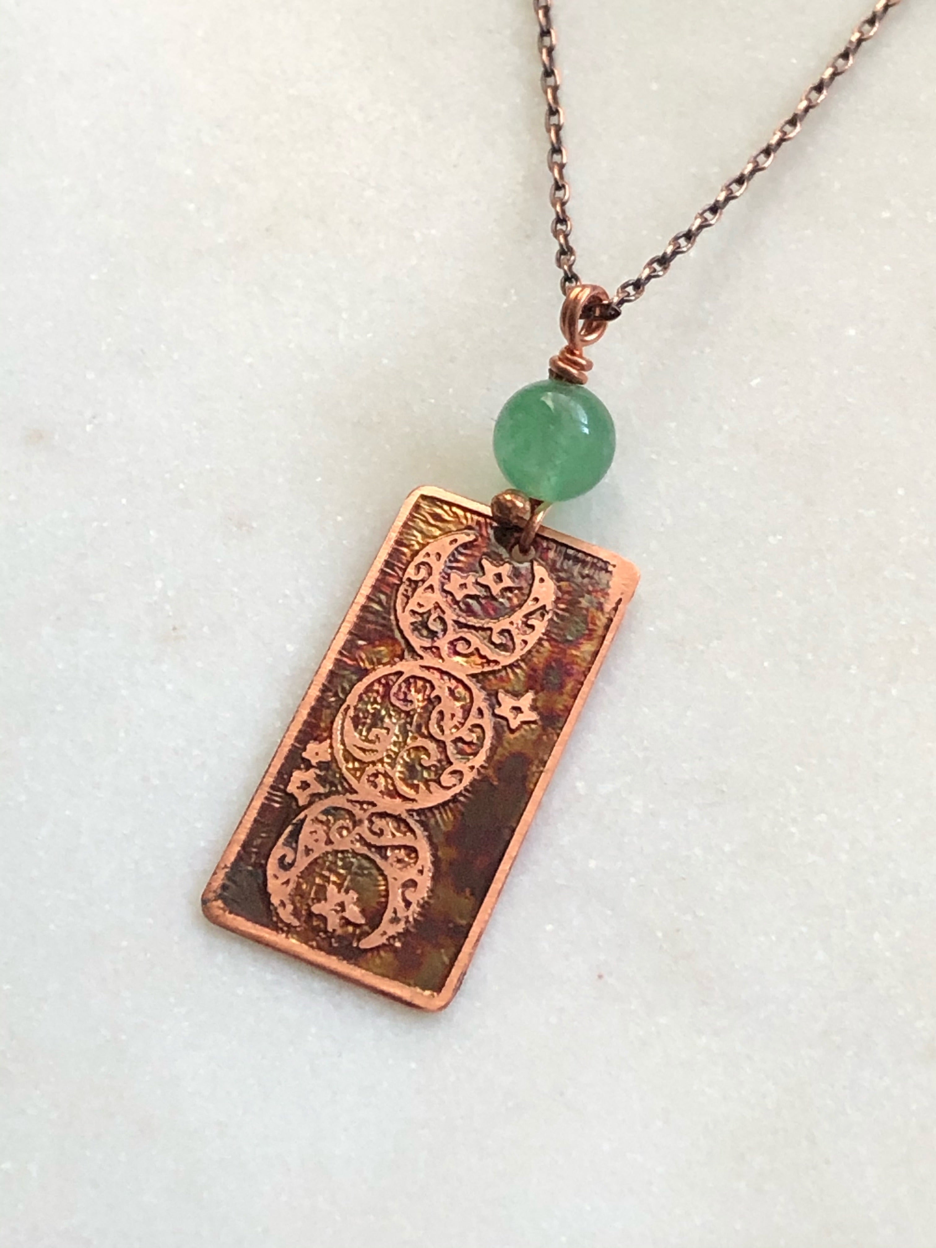 Acid etched copper moon necklace with aventurine