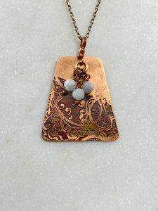 Acid etched copper swirl necklace with moonstone