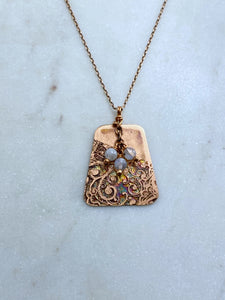 Acid etched copper mandala necklace with moonstone