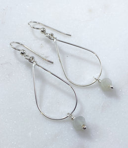 Sterling silver teardrop earrings with moonstone