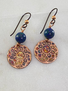 Acid etched copper earrings with chrysocalla gemstones