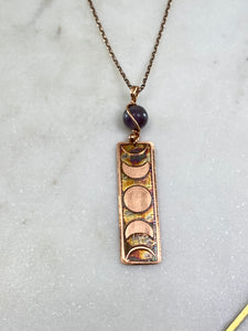 Acid etched copper moon phase necklace with amethyst