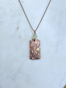 Acid etched copper swirl necklace with prehnite