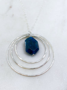 Sterling silver forged 3 circle necklace with apatite gemstone