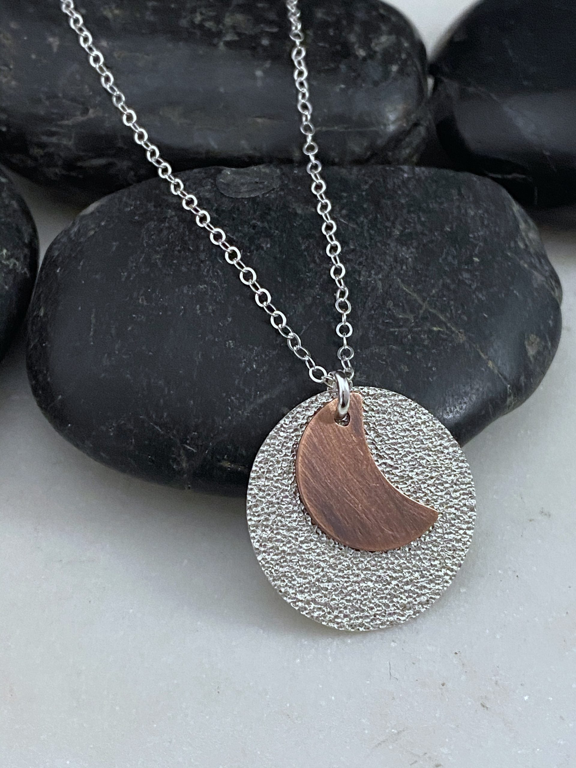 Sterling and copper moon necklace