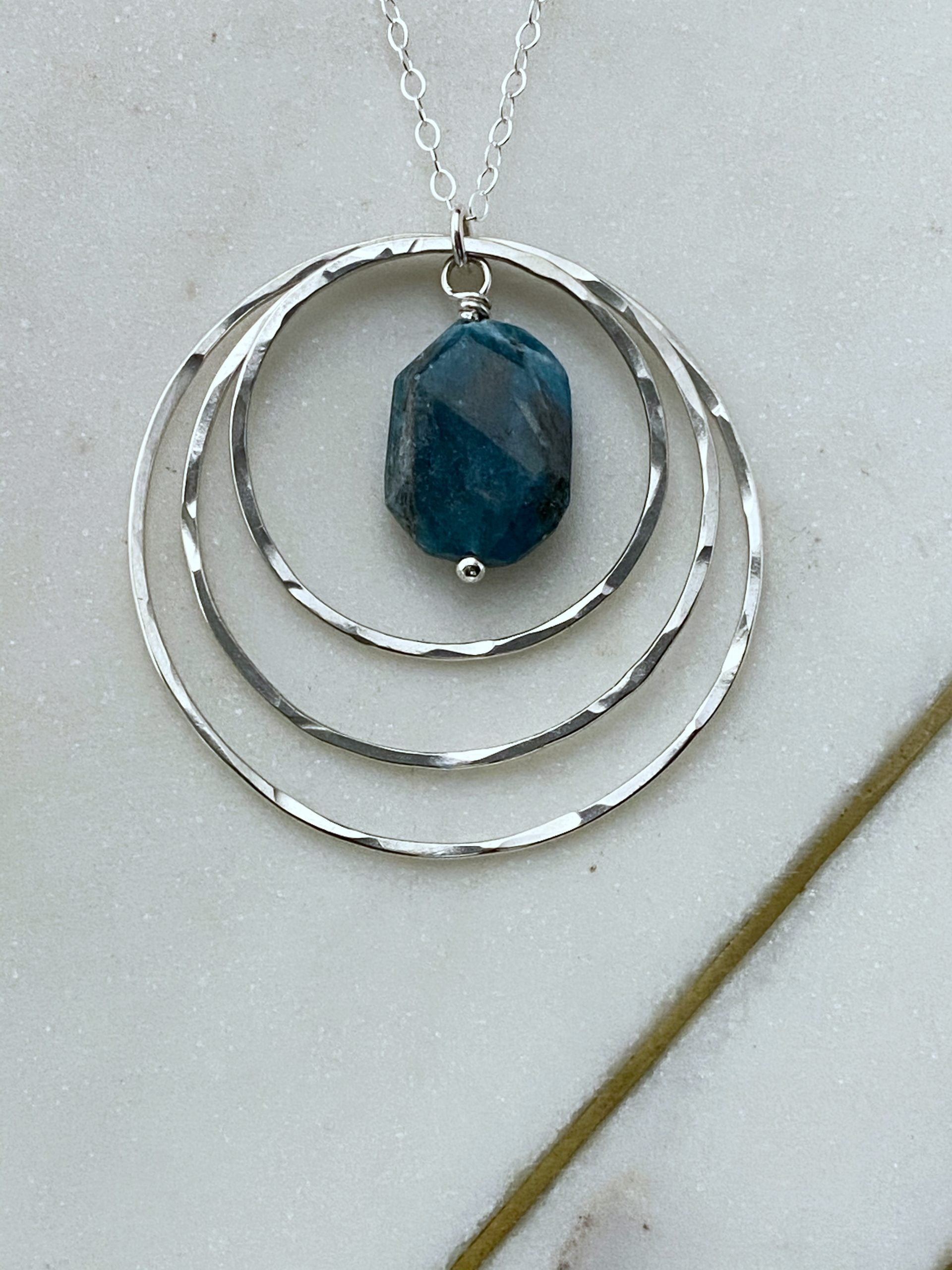 Sterling silver and apatite forged hoop necklace