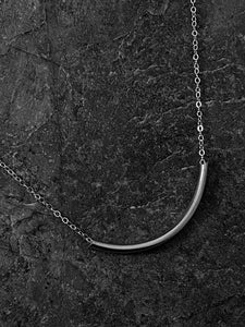 Sterling silver forged tube necklace