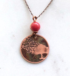 Acid etched copper blowing tree necklace with coral