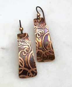 Acid etched copper irregular rectangle earrings