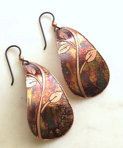 Acid etched copper large teardrop earrings