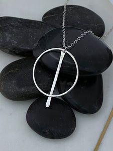Sterling silver forged hoop necklace with paddle