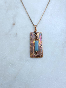 Acid etched copper swirl necklace with amazonite