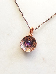 Acid etched copper mandala dish necklace with amethyst
