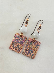 Acid etched copper earrings with moonstone