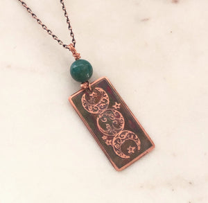 Acid etched copper moon necklace with amazonite