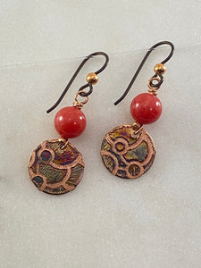 Acid etched copper earrings with coral