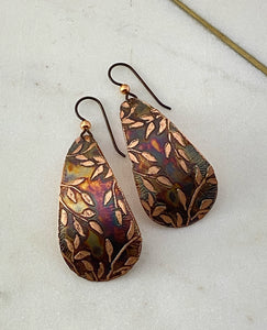 Acid etched copper teardrop earrings