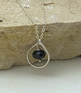 Sterling silver and onyx forged teardrop necklace