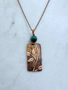 Acid etched copper leaf necklace with chrysocalla