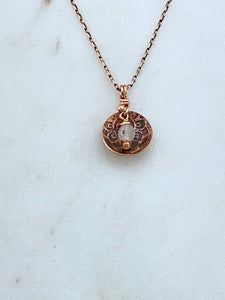 Acid etched copper mandala dish necklace with moonstone