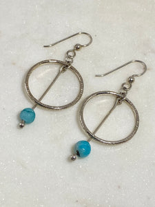 Sterling silver forged circle earrings with amazonite gemstones