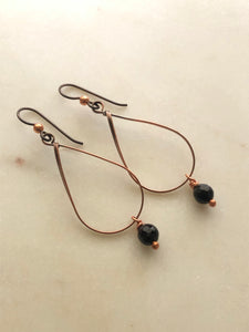 Copper wire wrapped earrings with onyx gemstones