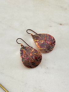 Acid etched copper swirl teardrop earrings