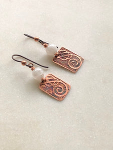 Acid etched copper swirl earrings with moonstone