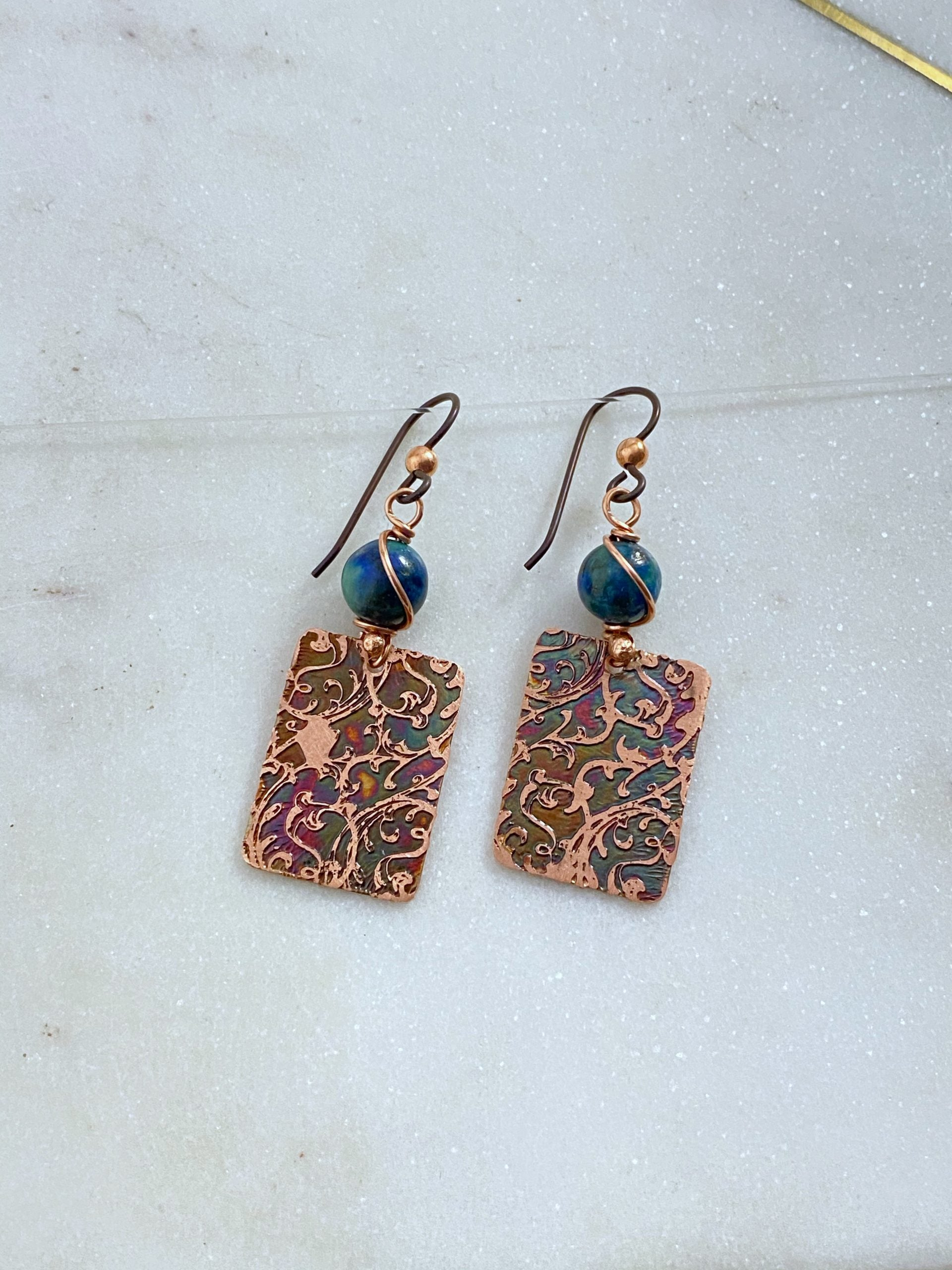 Acid etch copper earrings with azurite chrysocolla