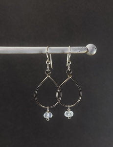 Sterling silver teardrop earrings with rainbow moonstone