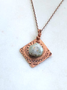 Acid etched copper mandala necklace with chrysoprase