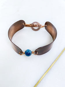 Copper and apatite bracelet