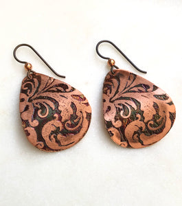 Acid etched copper medium teardrop earrings