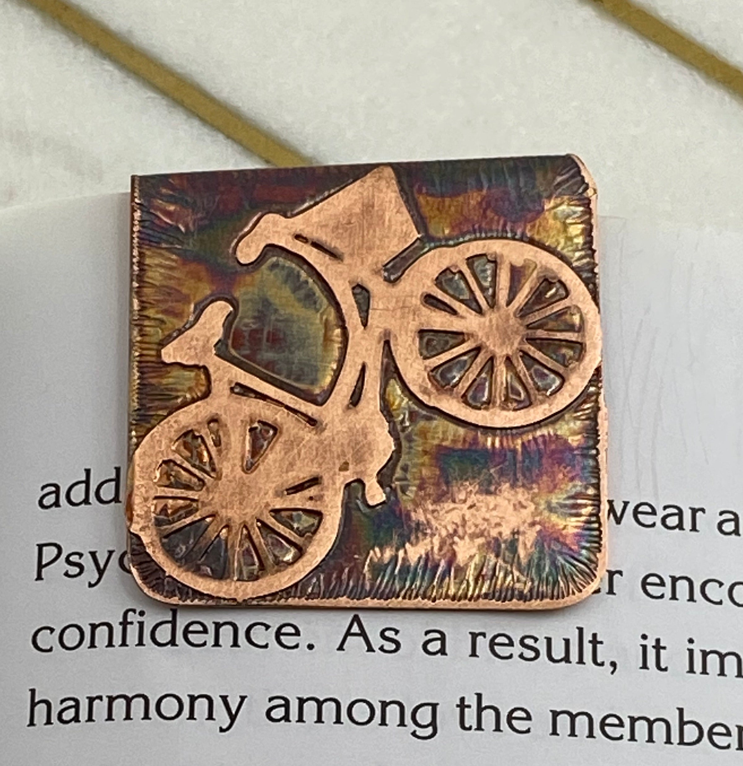 Acid etched copper bicycle bookmark