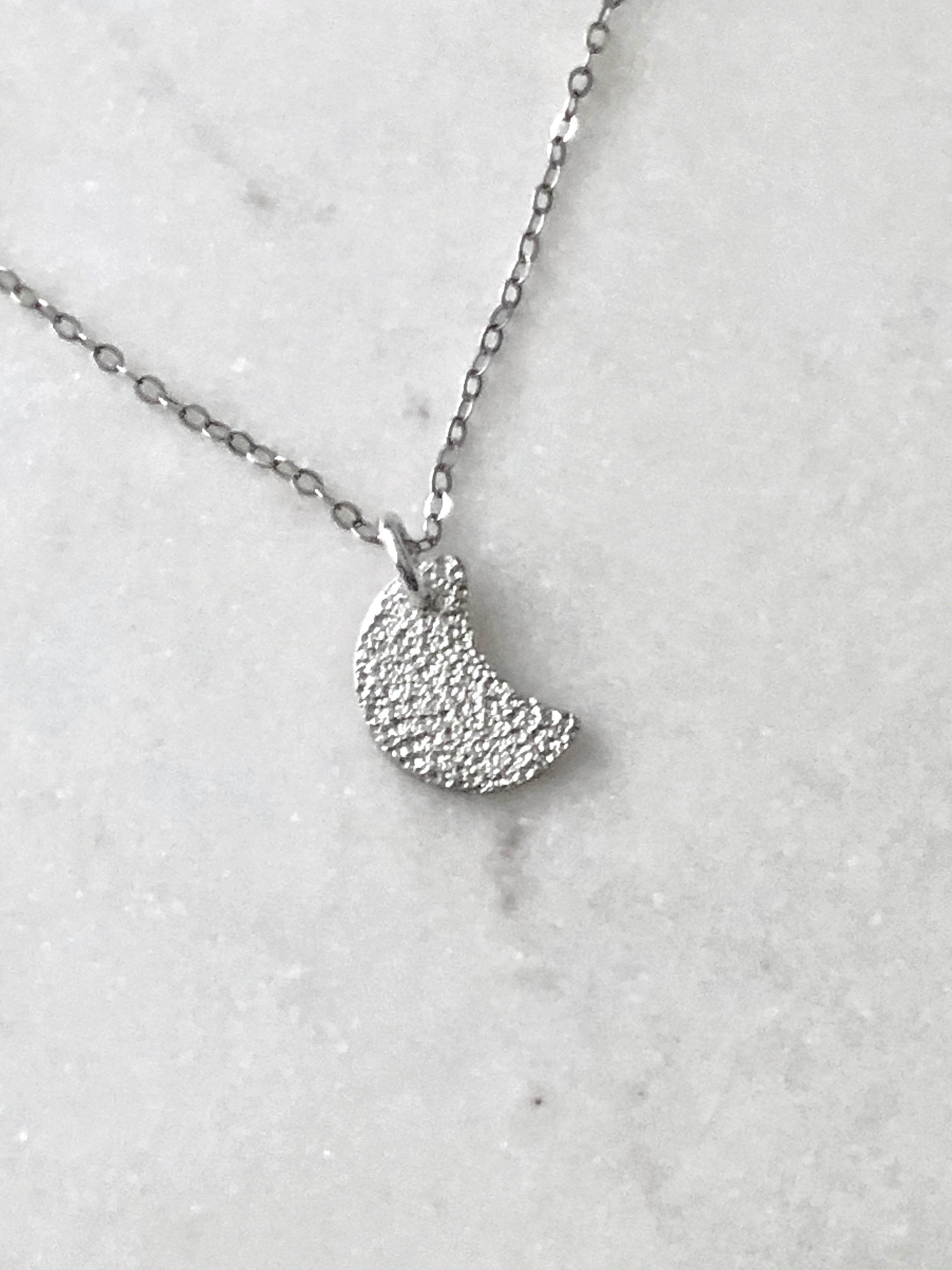 Hammer Textured Sterling Silver Moon Necklace