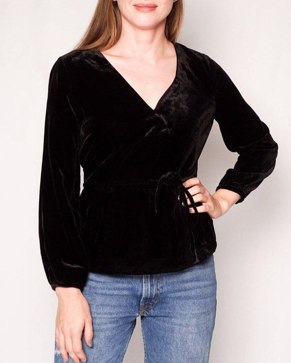 J. CREW Black Drapey Velvet Faux Wrap Top (Size 2) - Fashion Without Trashin