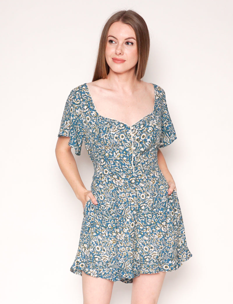 MAEVE ANTHROPOLOGIE Point Breeze Floral Print Button Romper