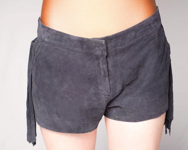 BEL AIR Gray Genuine Suede Fringe Mini Shorts (Size L) - Fashion Without Trashin
