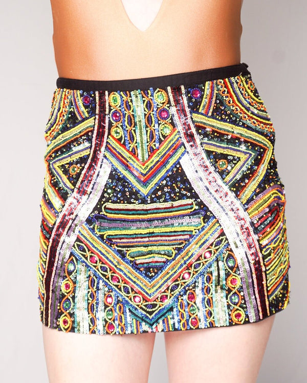 RAGA Beaded Sequined Mini Skirt (Size XS)