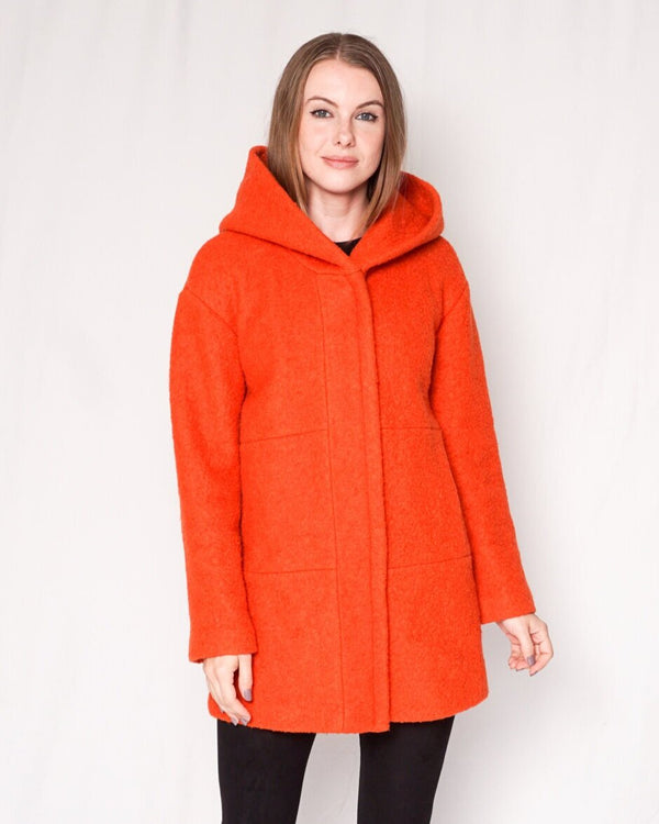 Zara Wool Blend Orange Zip-Up Jacket with Hood (size XS)
