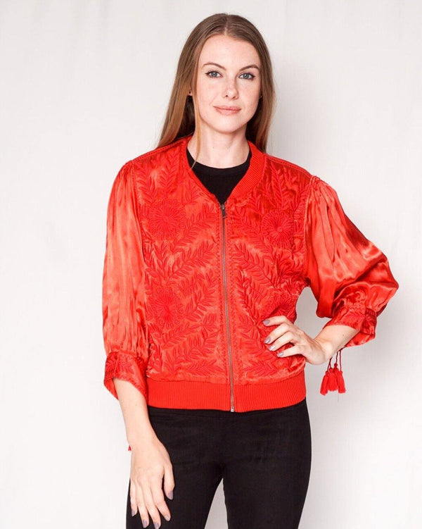 Free People Embroidered Red Satin Tassel Jacket (Size M) - Fashion Without Trashin