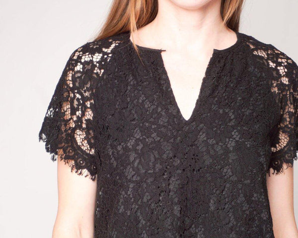 J. CREW Black Short-Sleeve Floral Lace Top (Size XS) - Fashion Without Trashin
