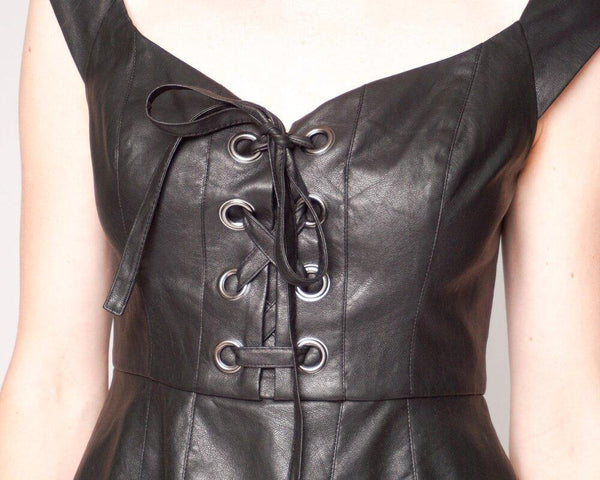 BCBGMaxAzria Pleather Hadli Lace-up Bustier NWT (Size S) - Fashion Without Trashin
