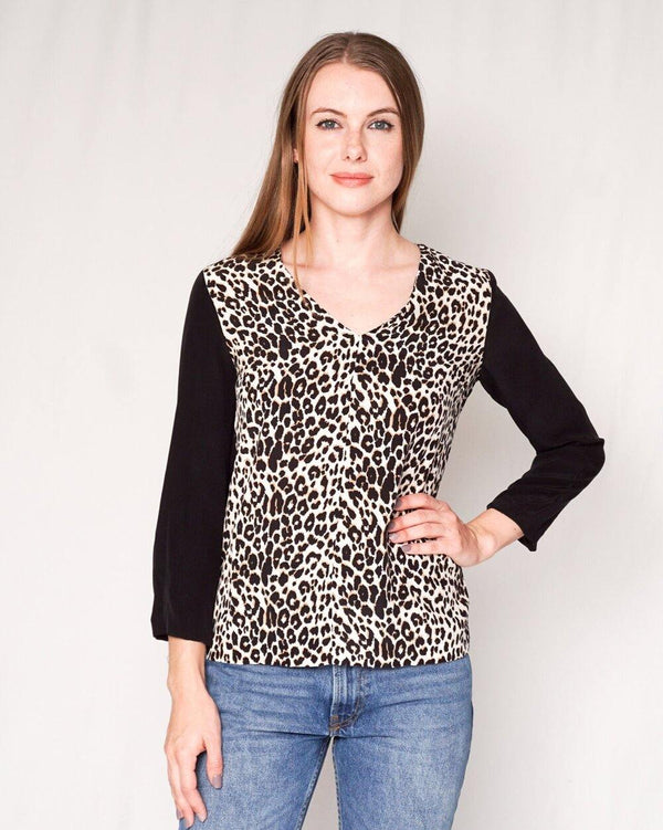 Club Monaco Krista Silk Leopard Contrast Top (Size XS) - Fashion Without Trashin