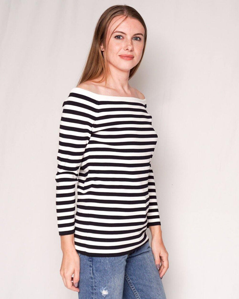 Hobbs Off-Shoulder Knit Striped Long-Sleeve Top (Size M) - Fashion Without Trashin