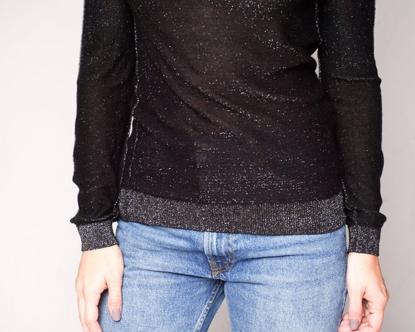 Karssen Black Knit Shimmer Long-Sleeve Top (Size M)