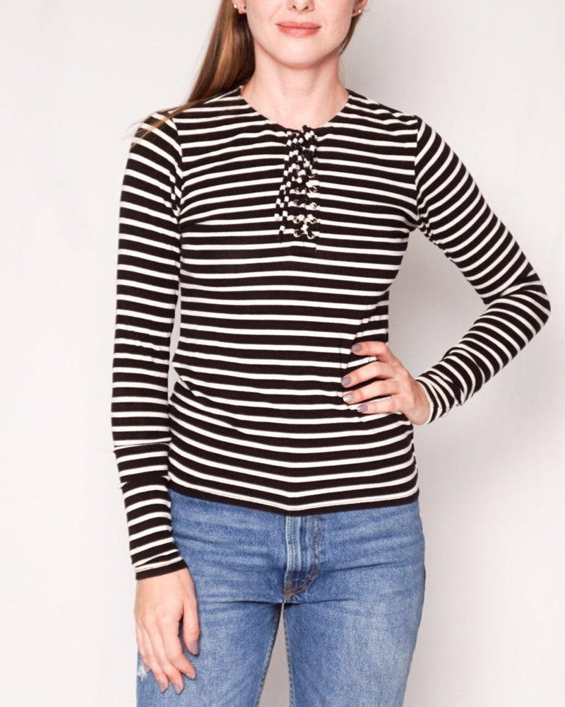 Reformation Bonny Lace-Up Neck Striped Knit Top (Size S)