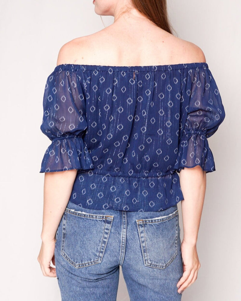 Misa Los Angeles Blue Ikat Off-Shoulder Blouse(Size XS)