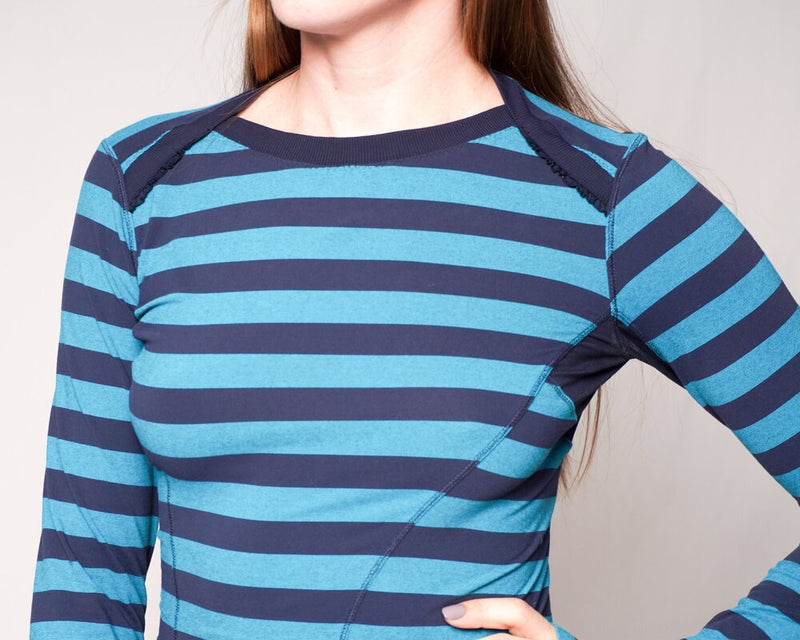 Lululemon Athletica Blue Striped Long-Sleeve Top (Size 4)