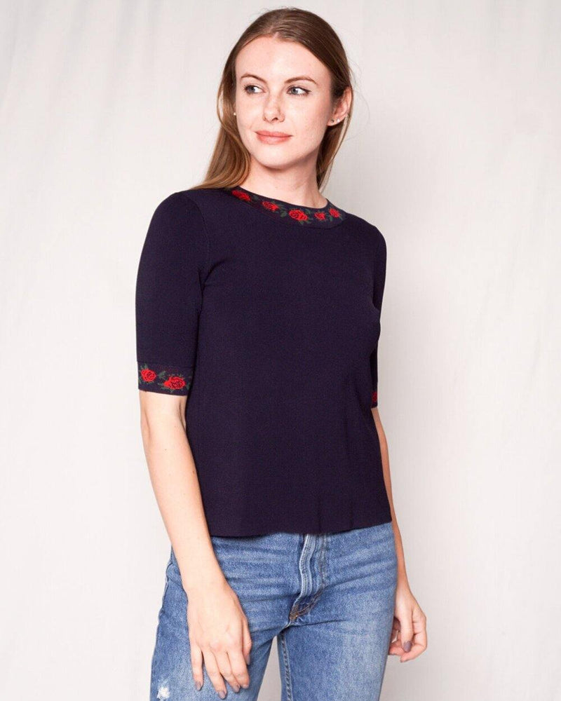 Club Monaco Navy Blue Knit Short-Sleeve Top with Roses (Size XS) - Fashion Without Trashin